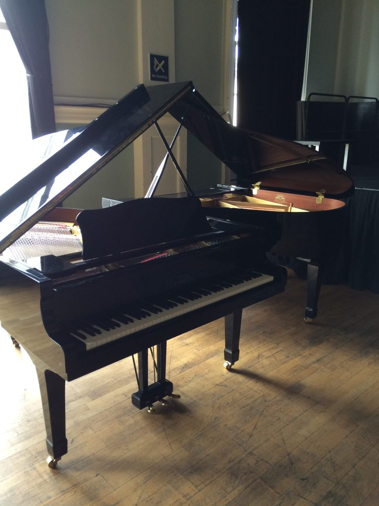 Yamaha grand piano at Stroud Subscription Rooms