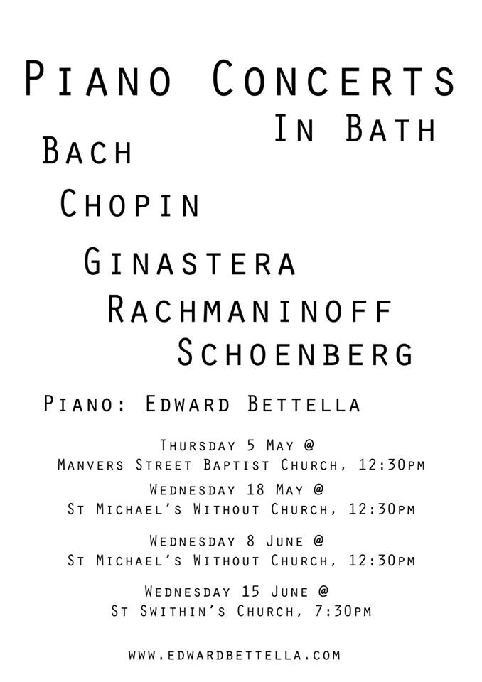 Piano Concerts in Bath 2016 with Edward Bettella