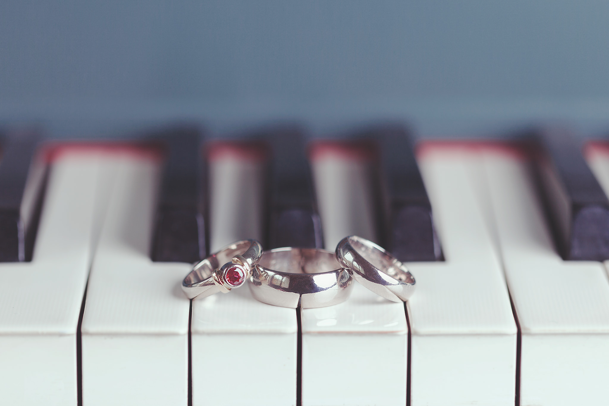 Painted piano and photoworks