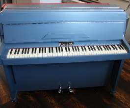 Ronson painted upright piano finished in Farrow & Ball paint 'Stiffkey Blue'