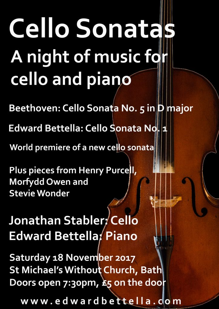 Cello Sonatas Concert, Saturday 18 November 2017