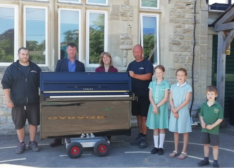 Piano delivery to Woodchester Endowed School